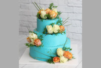 Торт Свадебный с цветами голубой SWEETMARIN